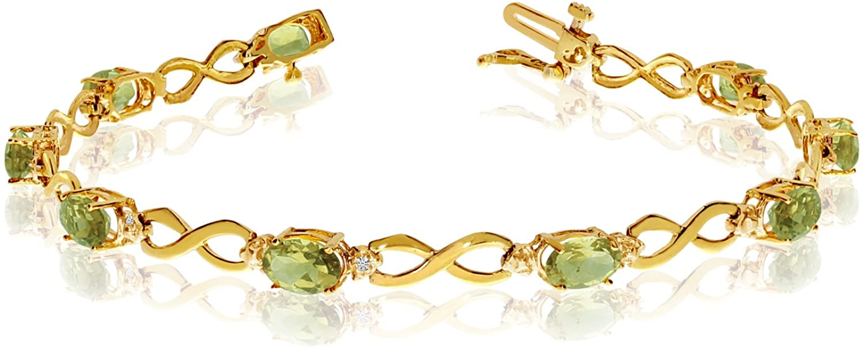 10K Yellow Gold Oval Peridot Stones And Diamonds Infinity Tennis Bracelet, 7