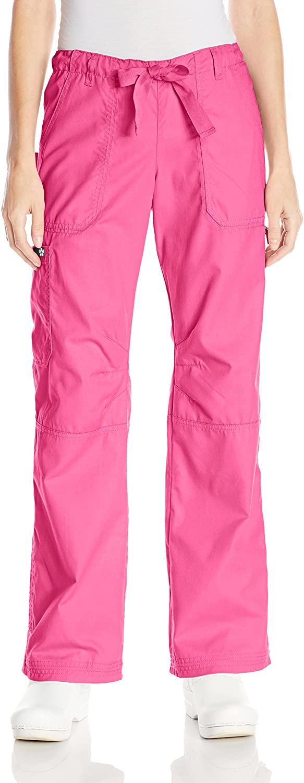 KOI Women's Lindsey Ultra Comfortable Cargo Style Scrub Pants, Flamingo, XX-Large
