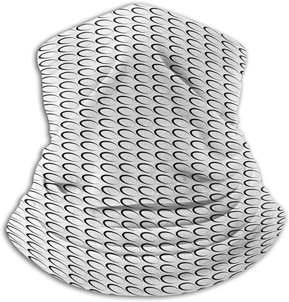 Neck Gaiter Women Black and White Womens Neck Warmer Minimal Pattern with Slanted Oval Shapes Elongated Elliptic Outlines Black and White