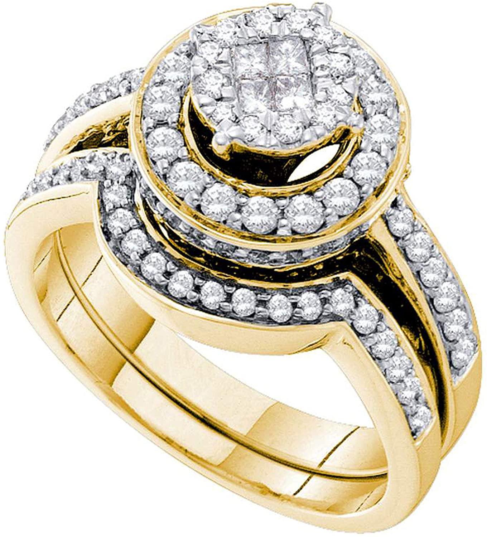 Dazzlingrock Collection 1.01 Carat (Ctw) Princess Round Diamond Soleil Bridal Wedding Ring Set 1 Ctw, 14K Yellow Gold