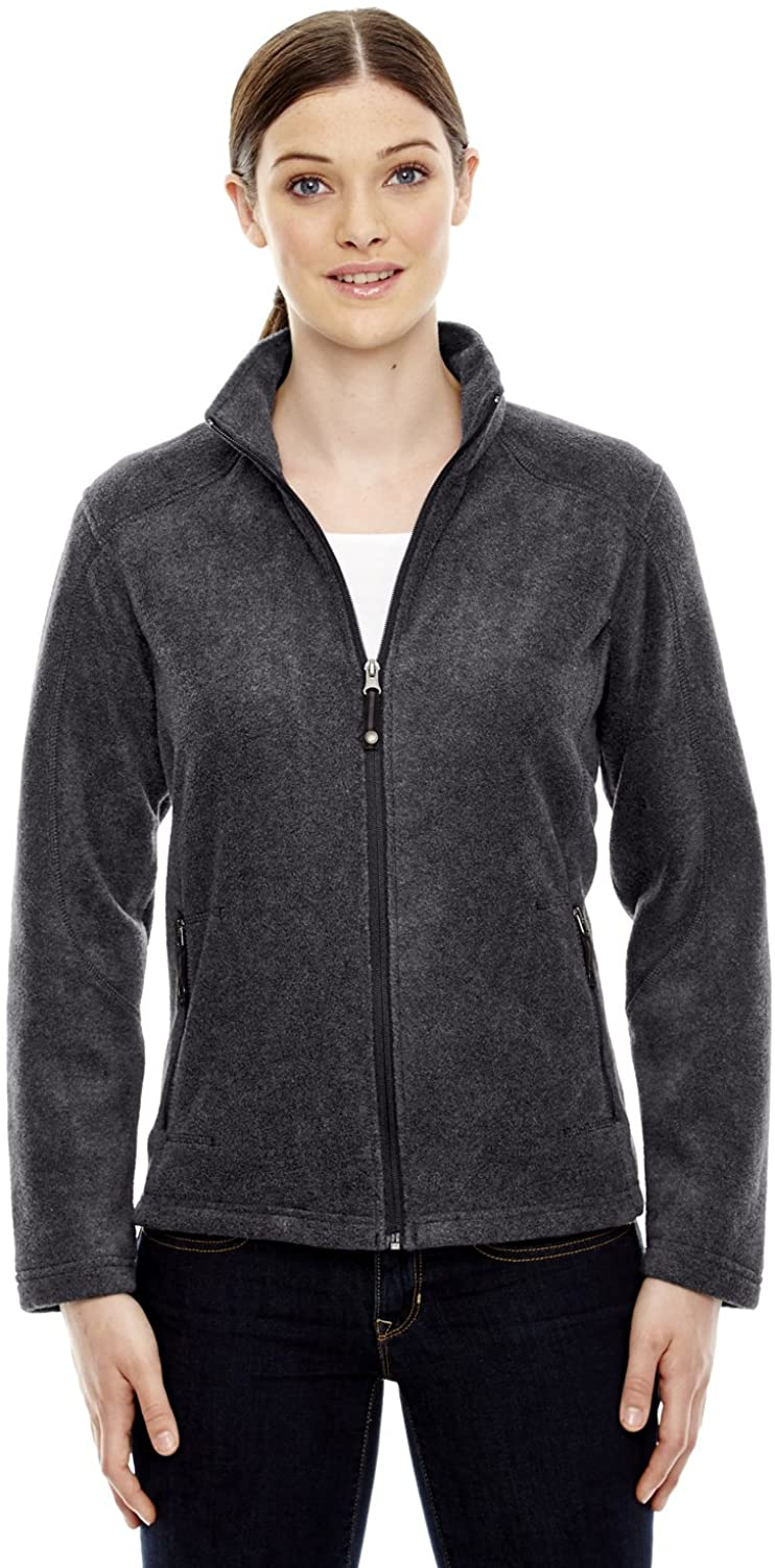 North End Ladies Fleece Front Zipper Jacket, Hthr Chrcl, X-Large