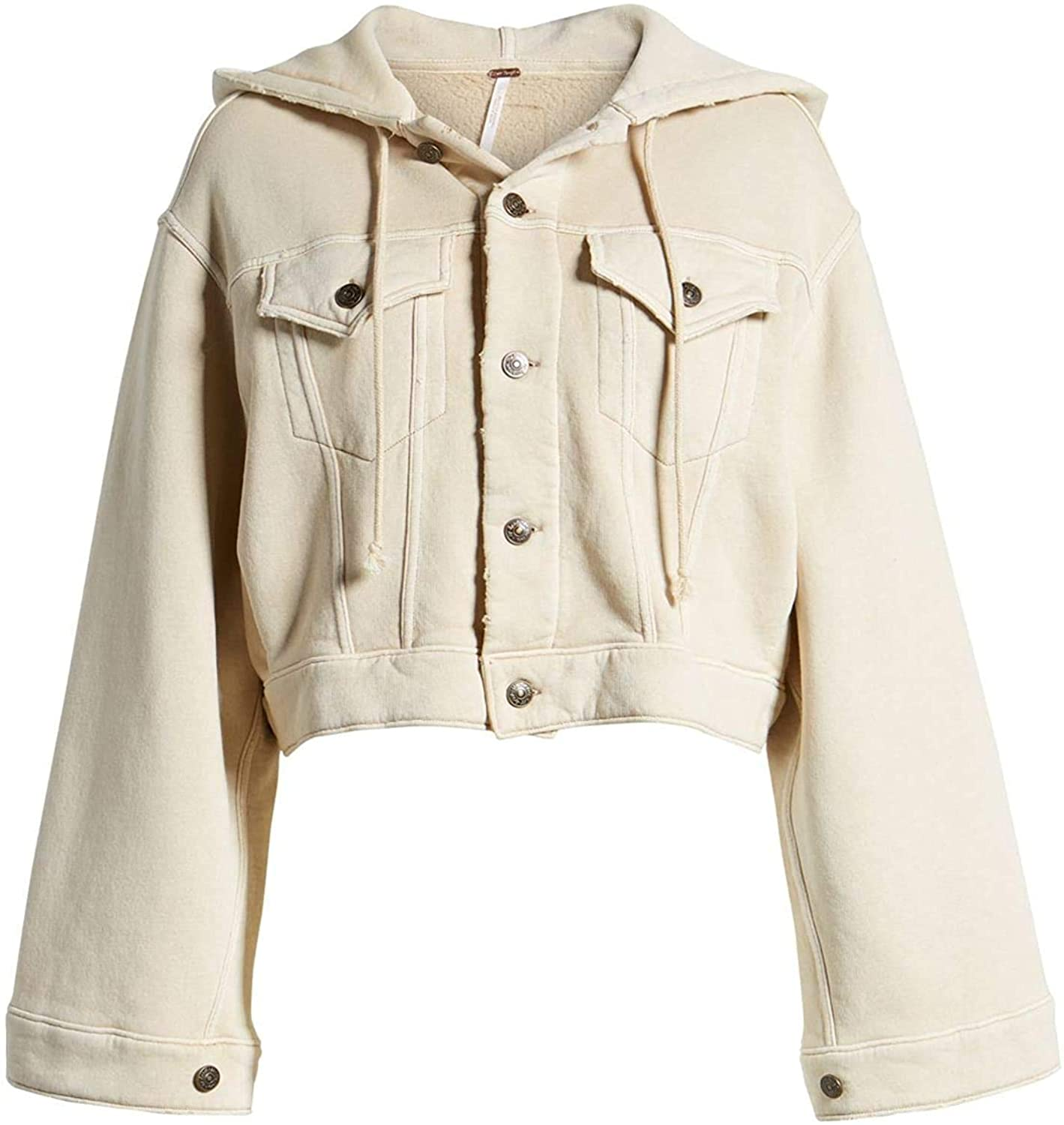 Free People Womens Dreamers Lightweight Hooded Cropped Jacket