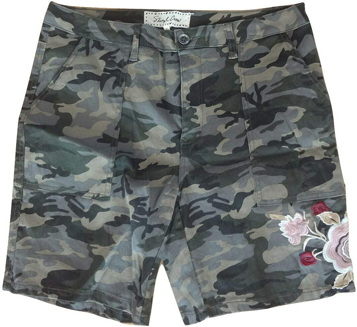 Sheryl Crow Womens' Gray Camouflage Embroidered Shorts (14)
