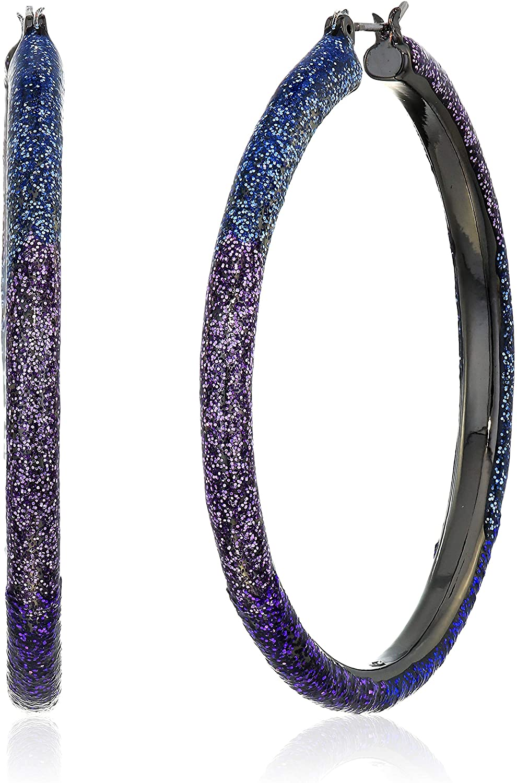 Betsey Johnson (GBG) Women's Glitter Ombre Hoop Earrings, Blue, One Size