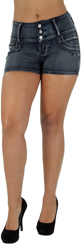 Plus/Junior Size Butt Lift Levanta Cola Mid Waist Ripped Distress Booty Shorts