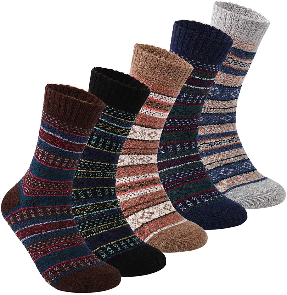 POWER YANNIK Women's Winter Soft Wool Comfort Vintage Cozy Crew Socks 5 Pack