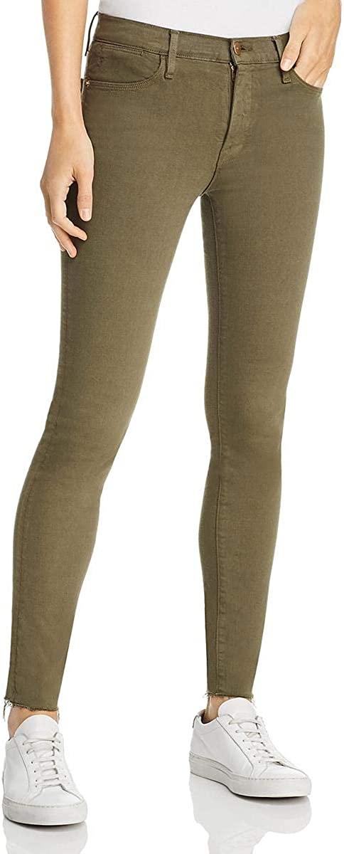 Frame Denim Womens Le High Skinny Raw Hem Denim Skinny Jeans Green 25
