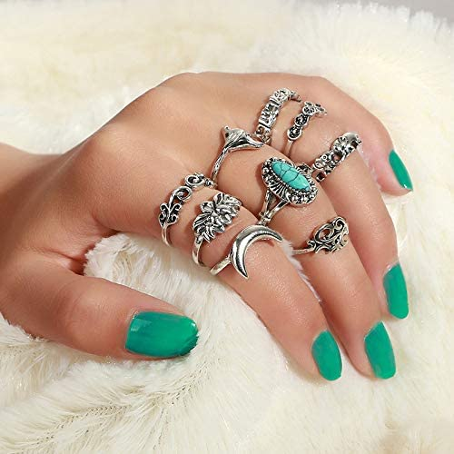 Clairy Boho Silver Stacking Rings Turquoise Mid Joint Rings Moon Finger Rings Jewelry for Women and Girls 9PCS