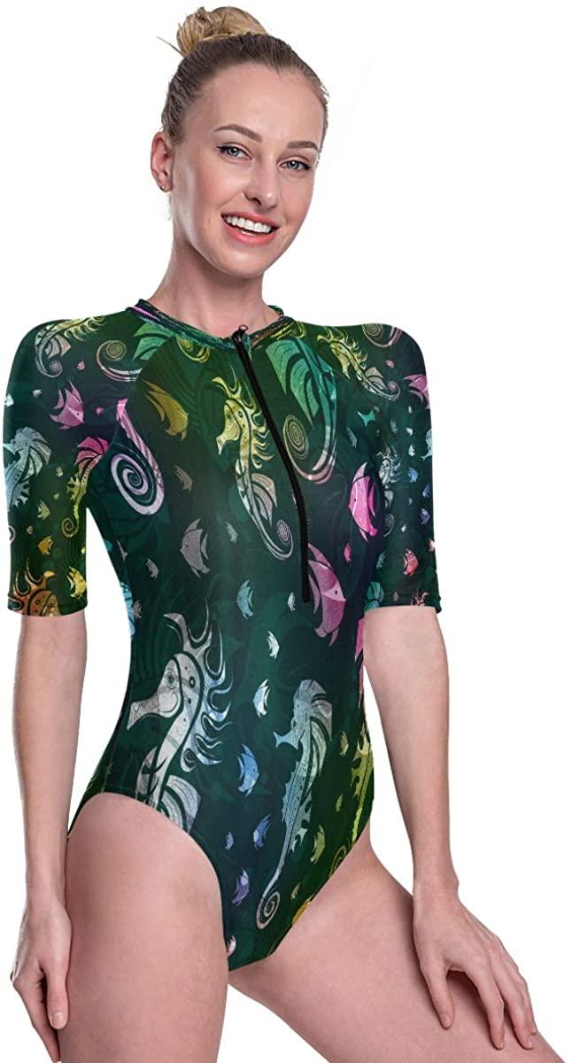 Godfery Gabriel Women's One Piece Short Sleeve Rashguard Surf Swimsuit Colorful Seahorse Fish Lovely Bathing Suit
