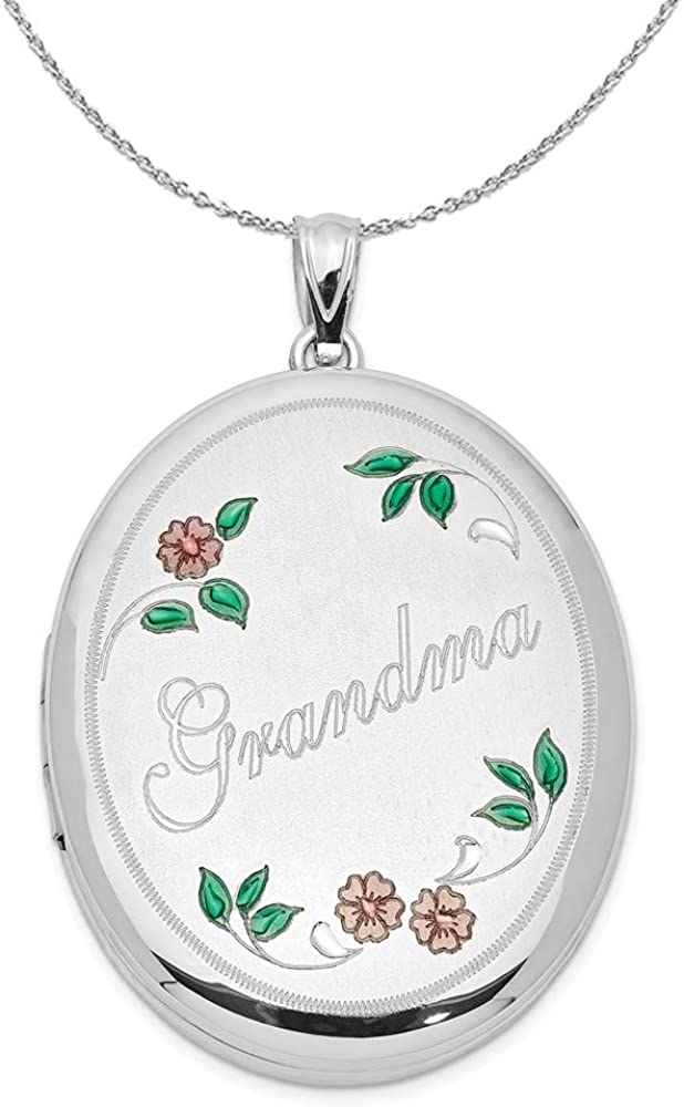 Black Bow Jewelry Sterling Silver and Enamel 34mm Grandma Oval Locket Necklace