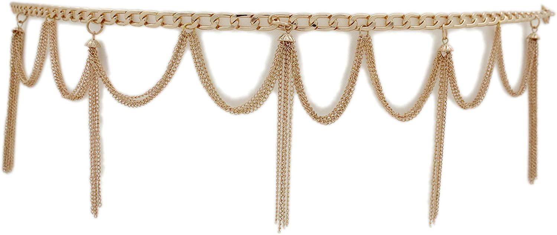 TFJ Women Trendy Fashion Gold Metal Chain Belt Fancy Waves Long Tassel M L XL