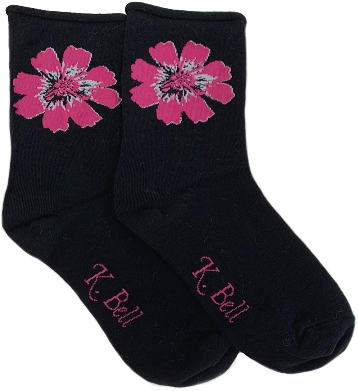 Womens Non-Binding Relaxed Roll Top Crew Socks, 2 Pair, Black with Pink Flower