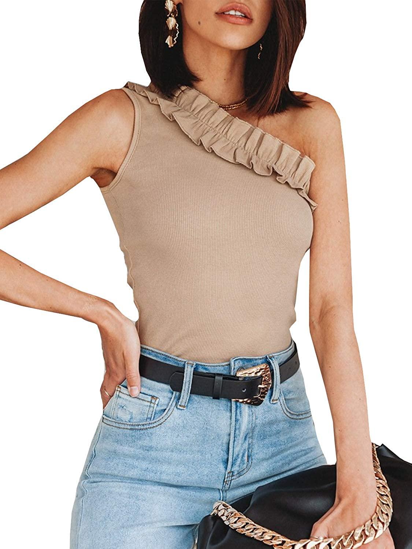 Glamaker Women's Sexy Ruffle Sleeveless Knit Bodysuit Bodycon Tank Tops Leotard Jumpsuits