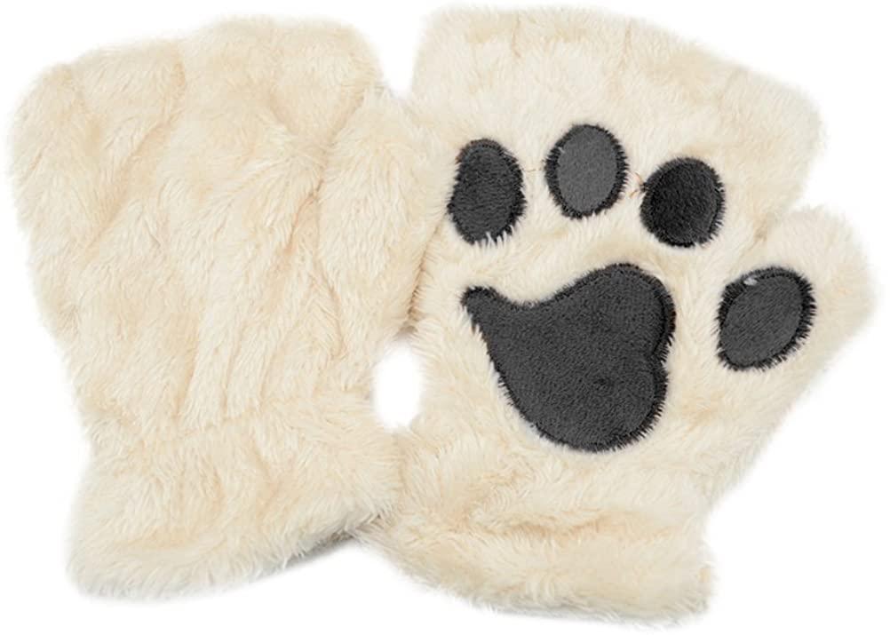Tinksky Winter Women Cute Cat Claw Dog Paw Plush Mittens Short Fingerless Gloves Half Finger Gloves Christmas Gift (Beige)