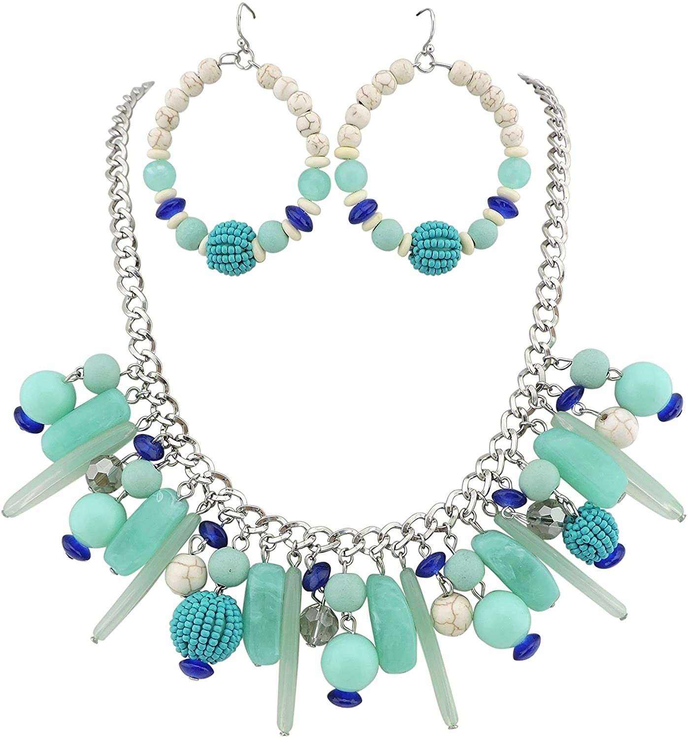 Bocar Statement Collar Beaded Necklace Chain Necklace with Chunky Earrings Set for Women Gift