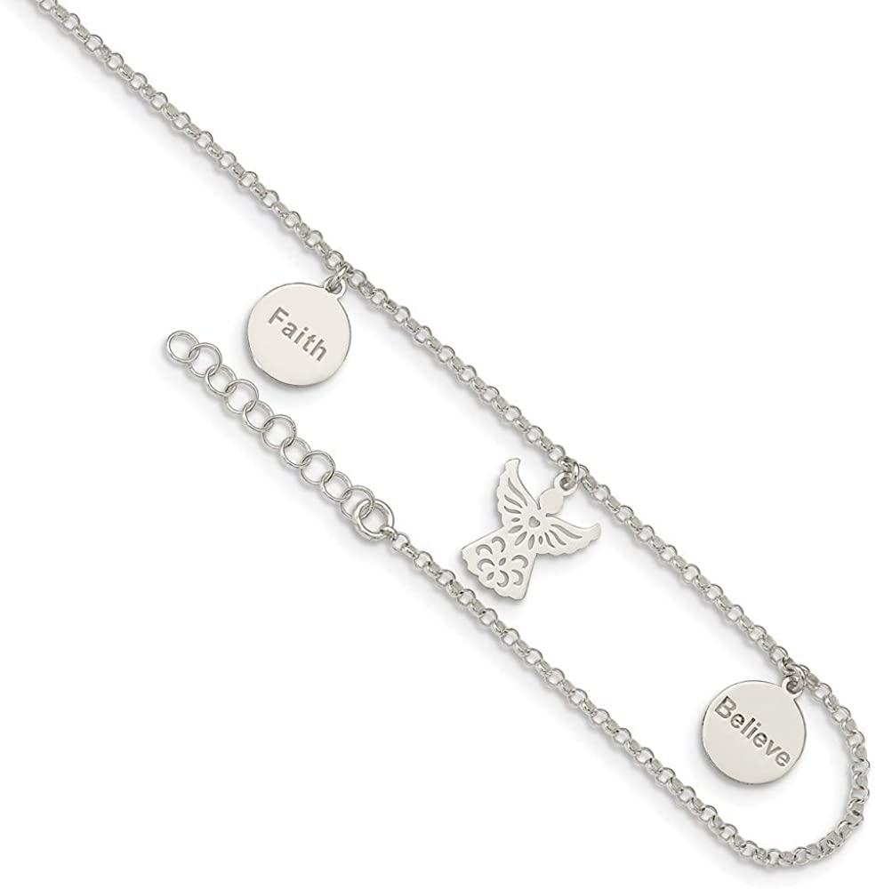 Solid 925 Sterling Silver Faith, Believe and Angel Dangles 1in Extension Anklet 9