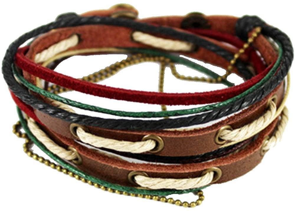 Unisex Handmade Real Leather Casual Braceket Multilayer Wraps Colorful Cotton Strings Wrap Bracelet Adjustable