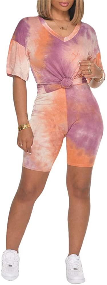 Adogirl Two Piece Short Set for Women Tie Dye Short Sleeve T-Shirts + Short Pants Set