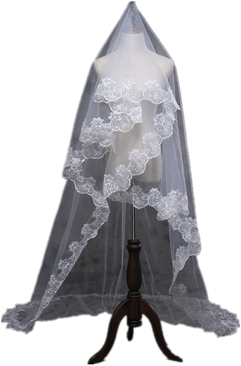 XSWPL White Lace Edge Cathedral Length 3 Meters Wedding Bridal Veil
