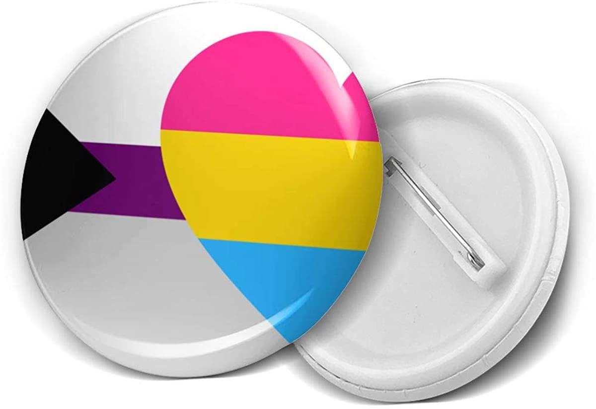 Demisexual Pansexual Pan Pride Flag Round Brooch Badge Pins For Women Men Girls T Shirt Bag Backpacks Hat Accessories