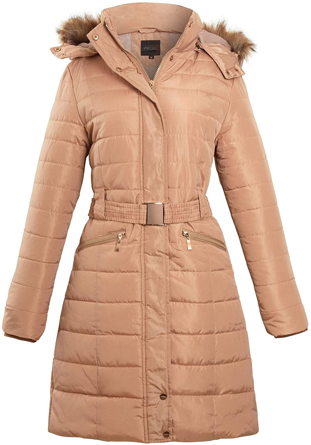 shelikes Womens Belted Faux Fur Hood Hooded Long Parka Jacket Quilted Winter Coat