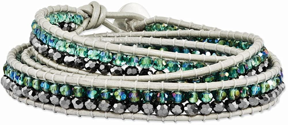 Sonia Jewels Green Aurora Borealis and Grey Crystal Bead Leather Multi-wrap Bracelet 21