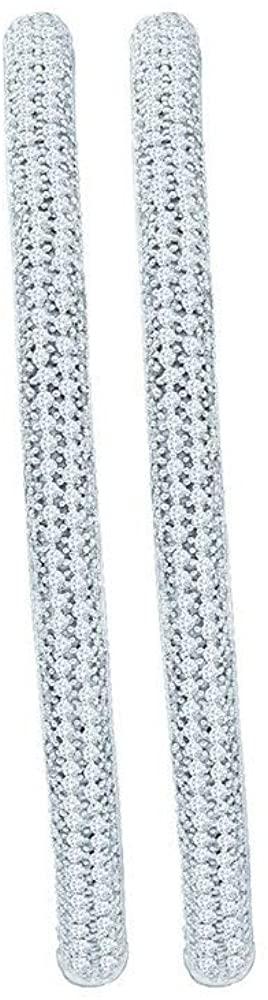 Dazzlingrock Collection 3.96 Carat (ctw) Round White Diamond Inside Outside Luxury Hoop Earrings, 14K White Gold