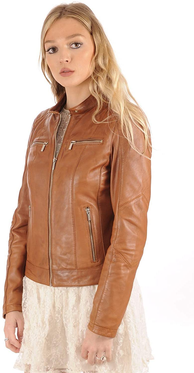 Women Stylish Genuine Lambskin Motorcycle Biker Leather Jacket WJ 79