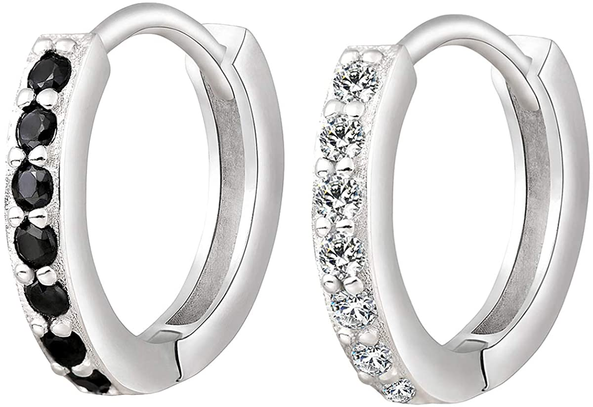 XINBOO Sterling Silver Small Hoop Earrings for Cartilage Women Girls Hypoallergenic Endless Tiny Hoop Cartilage Earrings Set Piercing 8mm 10mm 12mm 14mm