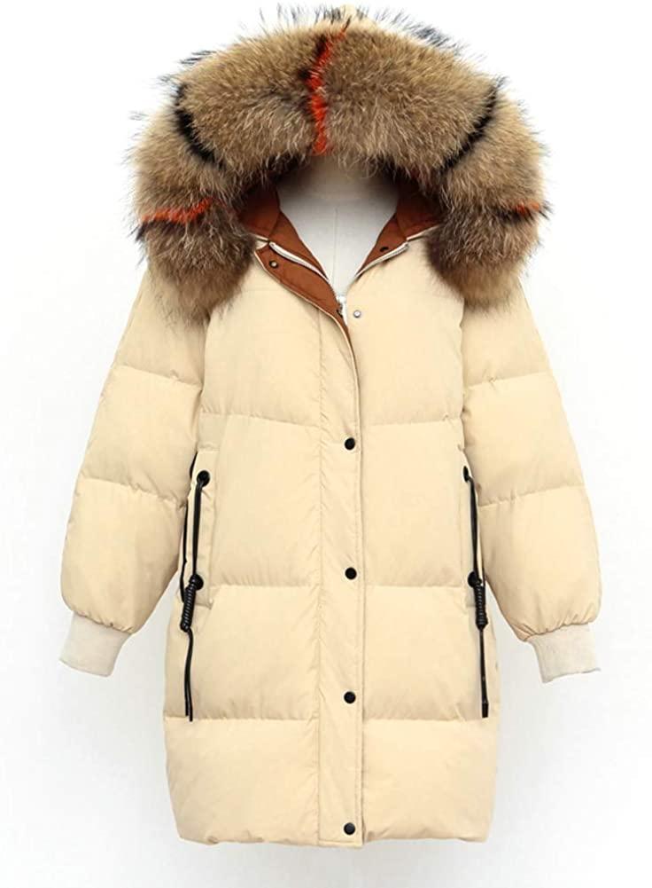 Dotoo Winter Women Hooded Long White Duck Down Fur Collar Loose Warm Jacket Down Jacket
