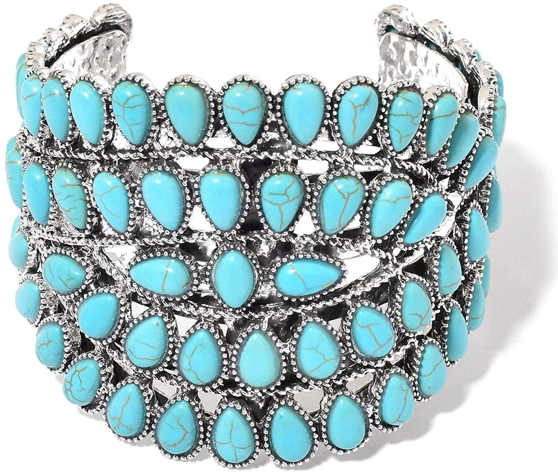 Shop LC Delivering Joy Blue Howlite Silvertone Cuff Bangle Bracelet Costume Promise Stylish Jewelry for Women 7.50''