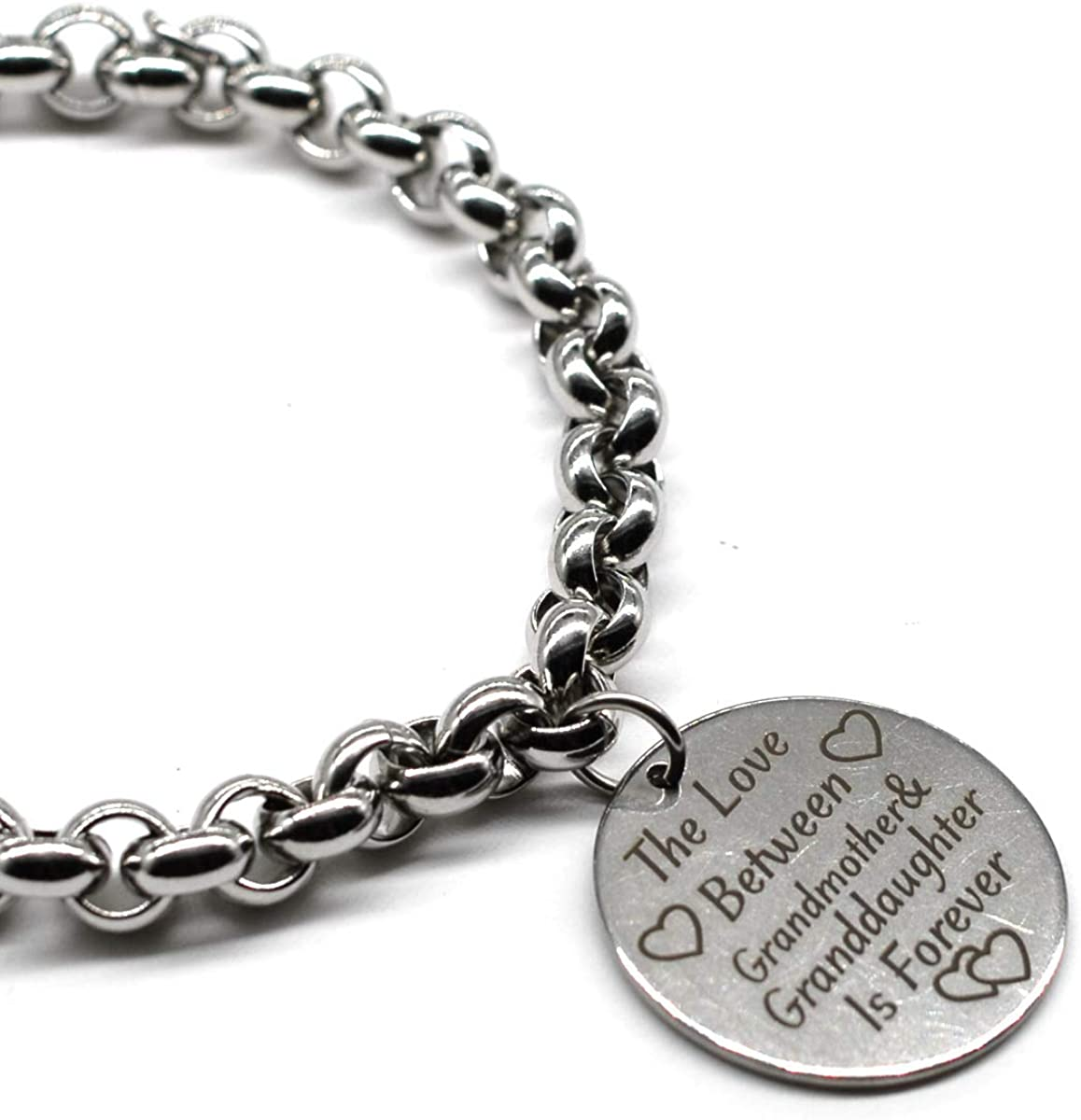 M&T 2015 Stainless Steel Charm Inspiration Jewelry, The Love Between Grandmother and Granddaughter is Forever, 20