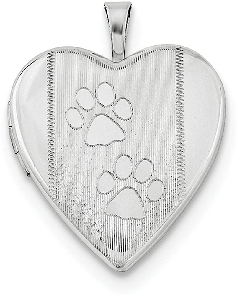 925 Sterling Silver 20mm Textured and Polished Dog Cat Pet Paw Prints Love Heart Photo Locket Pendant Necklace Jewelry Gifts for Women