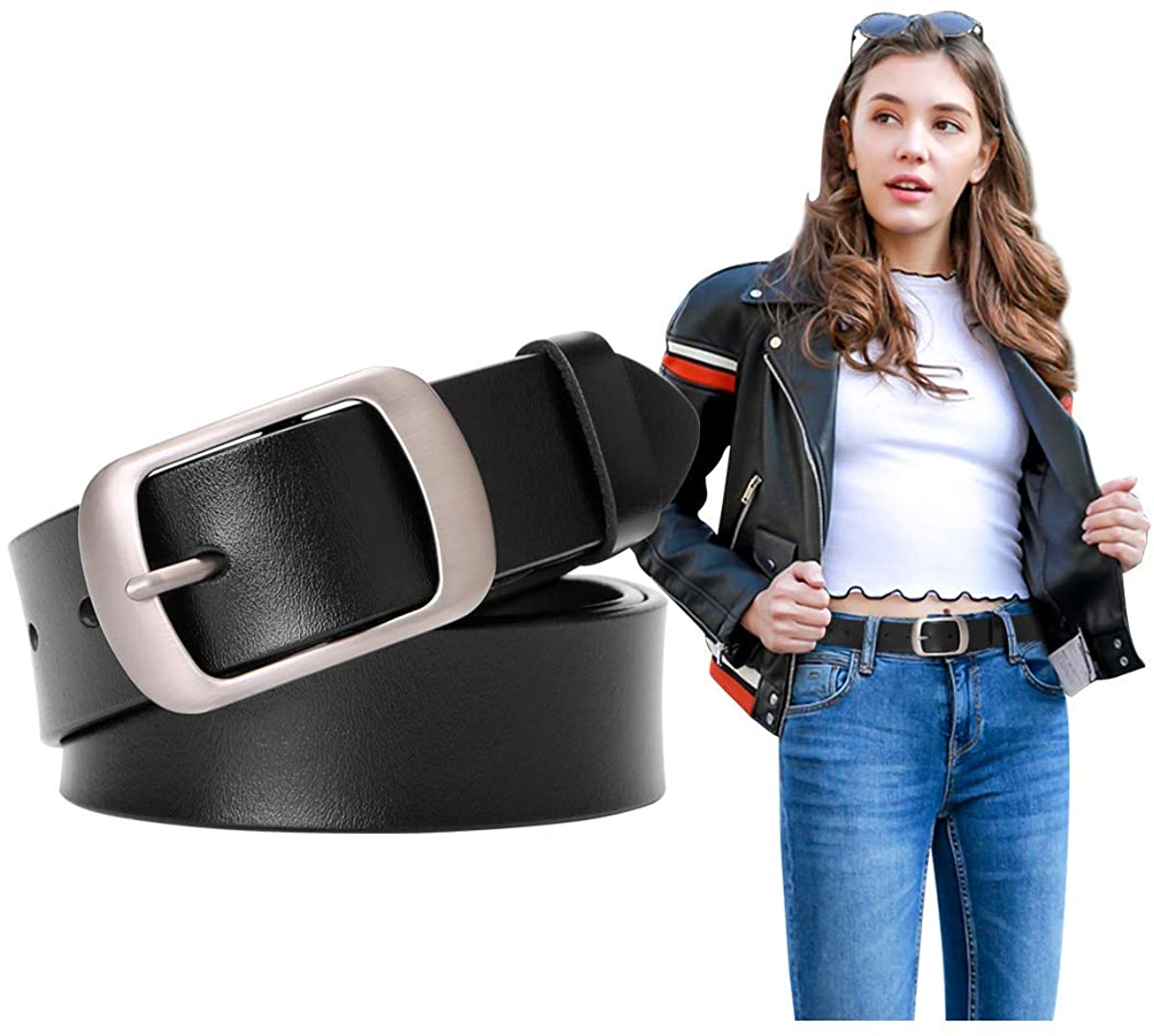 Fashion Womens Leather Belts SUOSDEY with Pin Buckle Waist Belt for Jeans Pants