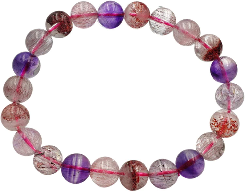 Muko Gemstone 9mm Natural Colorful Super Seven Lepidocrocite Quartz Crystal Clear Round Beads Bracelet AAAAA