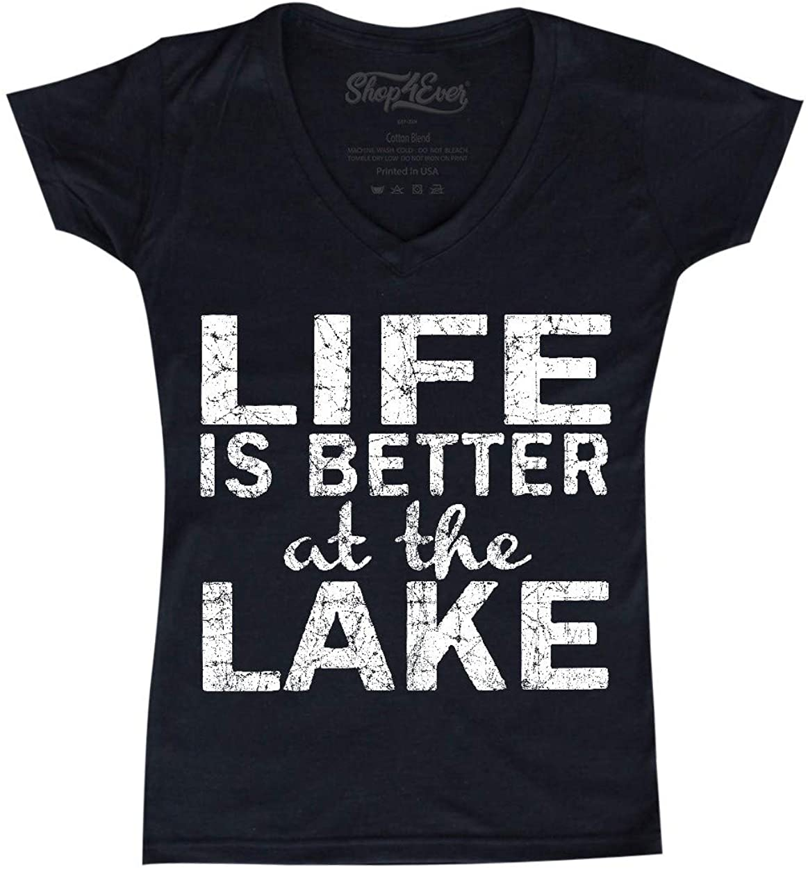 shop4ever Life is Better at The Lake Women's V-Neck T-Shirt Sayings Shirts Slim FIT