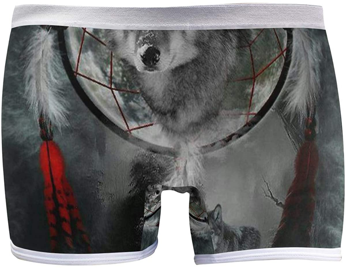 SLHFPX Danger Animal Wolf Dreamcatcher Women's Boyshort Panties Comfort Underwear Briefs Boy Shorts