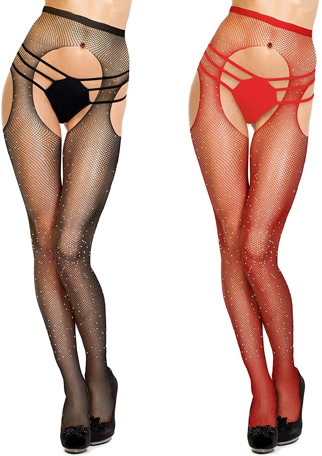 2 Pairs Lingerie Fishnet Stockings Rhinestone High Waist Tights Mesh Suspender Pantyhose Sheer for Women