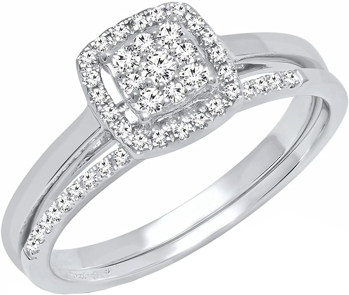 Dazzlingrock Collection 0.30 Carat (ctw) 10K Gold Round Diamond Ladies Bridal Engagement Ring Set 1/3 CT
