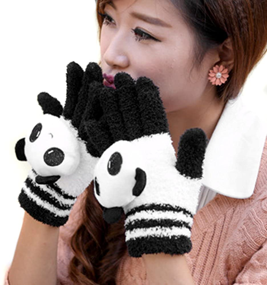LOCOMO Women Girl Touch Screen Gloves Cute Panda Doll FAF041 Black White