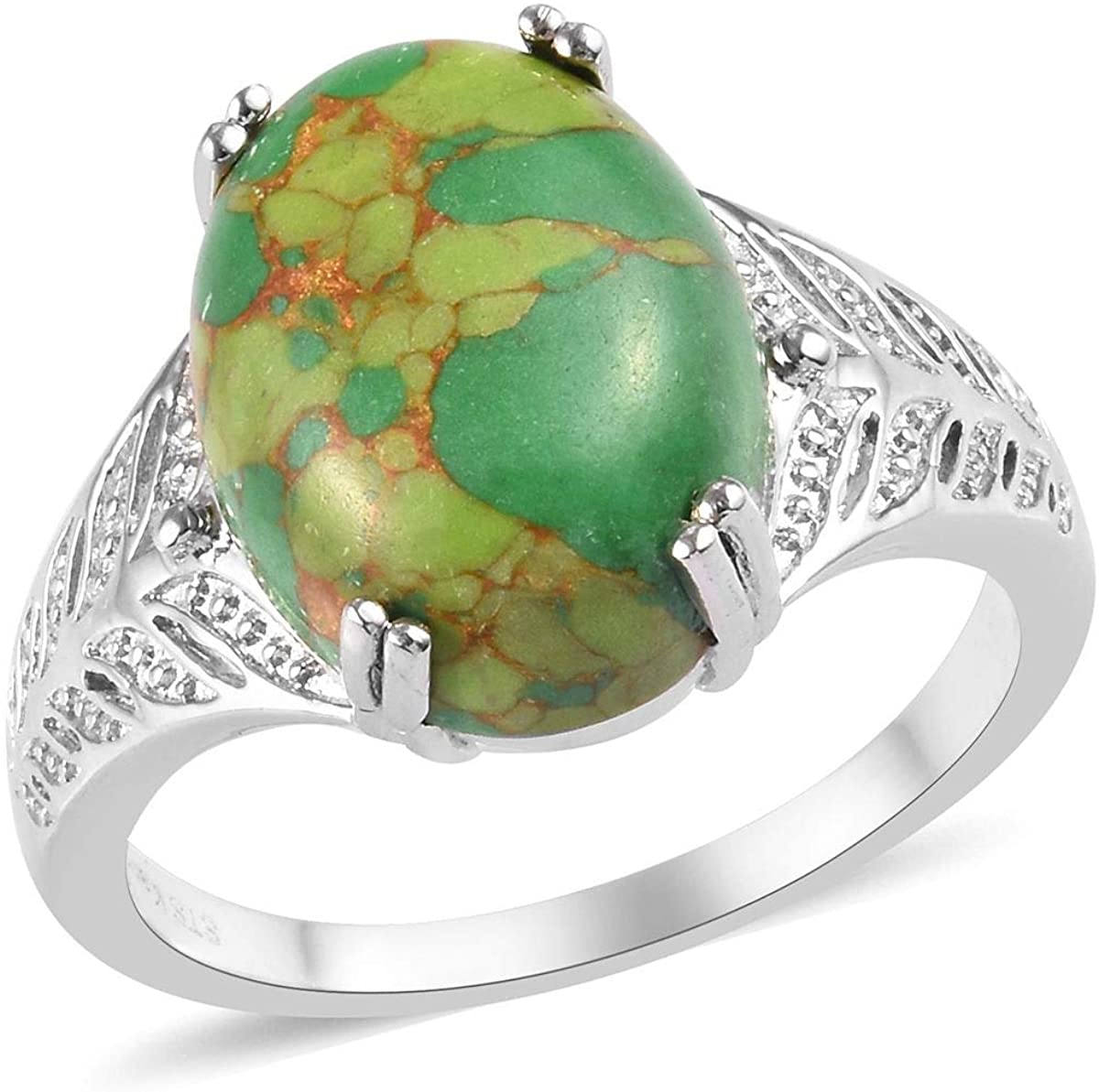 Shop LC Delivering Joy Karis Platinum Plated Oval Green Turquoise Solitaire Ring Unique Costume Promise Stylish Jewelry for Women Size 10