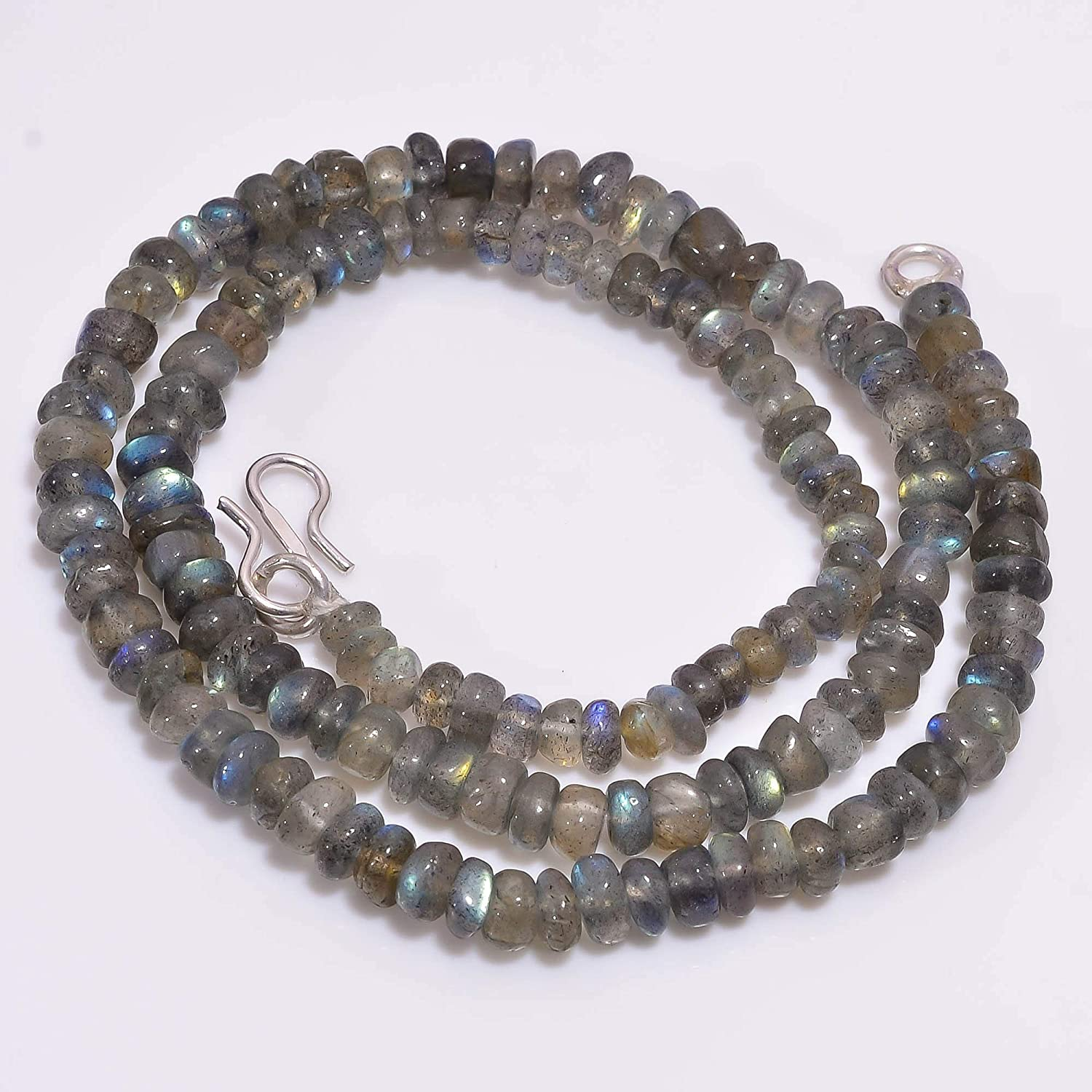Unique Beads Natural Labradorite Gemstone Rondelle Smooth Beads Necklace 5-6 mm 18