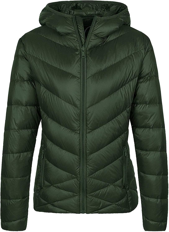 Wantdo Womens Packable Puffer Down Jacket Winter Hooded Lightweight Coat