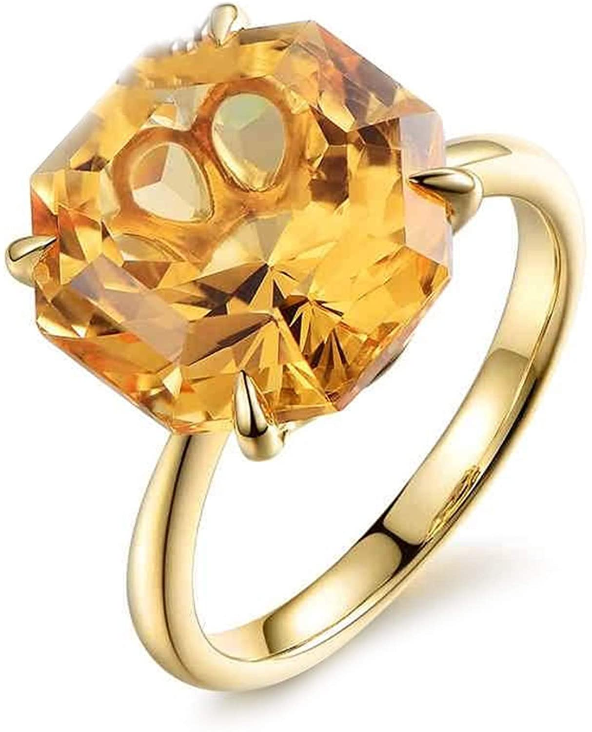AMDXD 18K Yellow Gold Ring for Women, Large Citrine 9.5ct Anniversary Ring Gold Size 6.5
