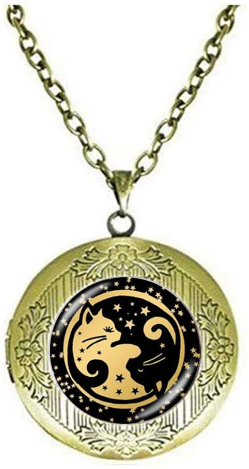 YIN YANG Cat Locket Necklace Art Photo Jewelry Birthday Festival Gift Beautiful Gift