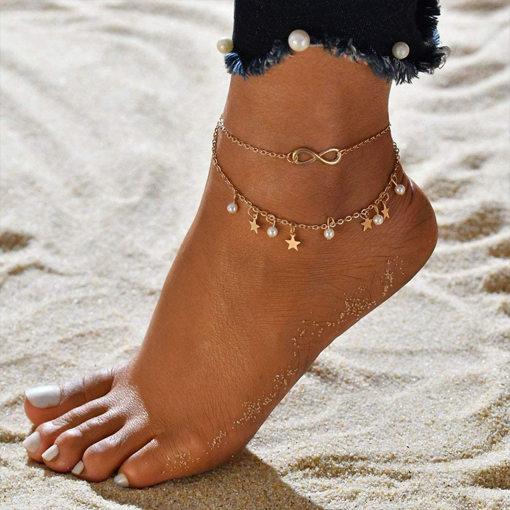 Gortin Layered Anklets Gold Stars Ankle Bracelet Boho Beaded Chain Adjustable Beach Anklets Foot Jewelry for Women and Girls
