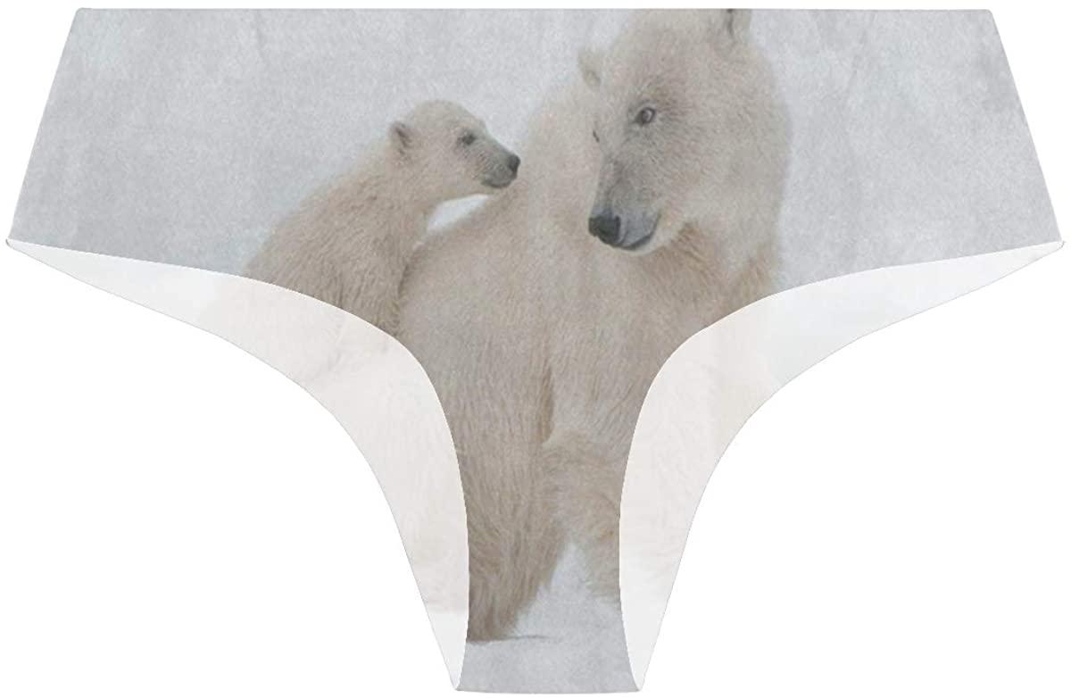 Snow Snowflake Polar Bear Womens Underwear Seamless Cheeky Panties No Show Panty Lines
