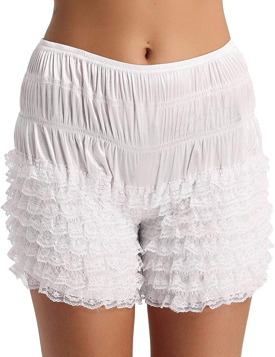 zdhoor Women Lace Frilly Ruffle Bloomers Panties Underwear Pettipants Short Slips
