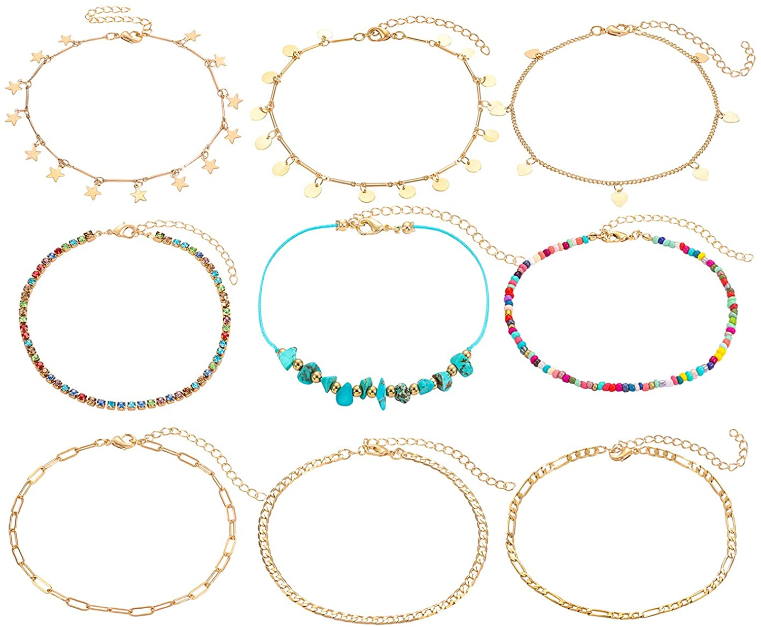 JERTOCLE 9 PC Anklets for Woman Surf Turquoise Rhinestone Beaded Anklet Bracelet Set Adjustable Figaro Paperclip Chain Link Beach Foot Jewelry