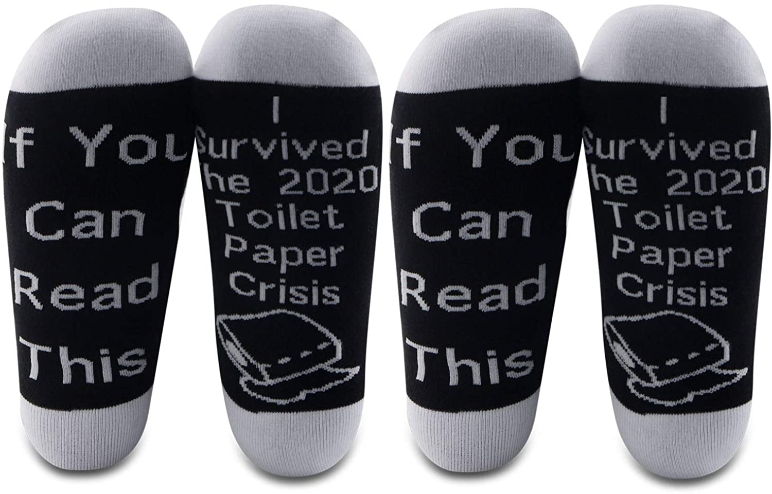 G2TUP 2 Pairs Quarantined 2020 Gift Toilet Paper Socks Social Distancing Corona Jokes I Survived The 2020 Toilet Paper Crisis